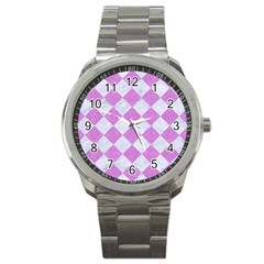 Square2 White Marble & Purple Colored Pencil Sport Metal Watch