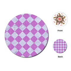 Square2 White Marble & Purple Colored Pencil Playing Cards (round)