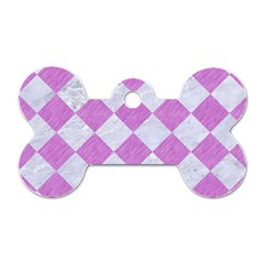 Square2 White Marble & Purple Colored Pencil Dog Tag Bone (two Sides)