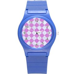Square2 White Marble & Purple Colored Pencil Round Plastic Sport Watch (s)
