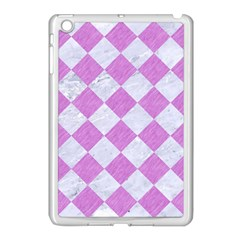 Square2 White Marble & Purple Colored Pencil Apple Ipad Mini Case (white)