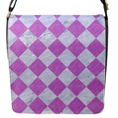 Square2 White Marble & Purple Colored Pencil Flap Messenger Bag (s)