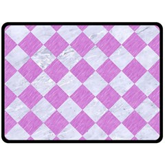 Square2 White Marble & Purple Colored Pencil Double Sided Fleece Blanket (large)