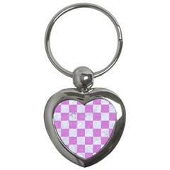 Square1 White Marble & Purple Colored Pencil Key Chains (heart)