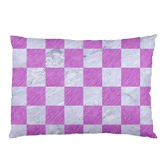 Square1 White Marble & Purple Colored Pencil Pillow Case (two Sides) by trendistuff