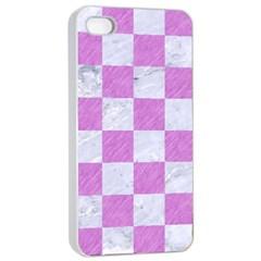 Square1 White Marble & Purple Colored Pencil Apple Iphone 4/4s Seamless Case (white)