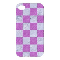 Square1 White Marble & Purple Colored Pencil Apple Iphone 4/4s Premium Hardshell Case