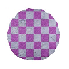 Square1 White Marble & Purple Colored Pencil Standard 15  Premium Round Cushions