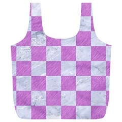 Square1 White Marble & Purple Colored Pencil Full Print Recycle Bags (l)