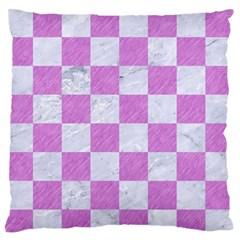 Square1 White Marble & Purple Colored Pencil Large Flano Cushion Case (one Side)