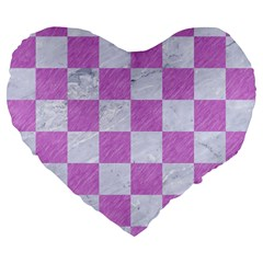 Square1 White Marble & Purple Colored Pencil Large 19  Premium Flano Heart Shape Cushions