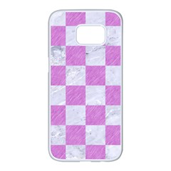 Square1 White Marble & Purple Colored Pencil Samsung Galaxy S7 Edge White Seamless Case by trendistuff