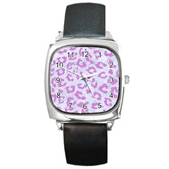 Skin5 White Marble & Purple Colored Pencil Square Metal Watch