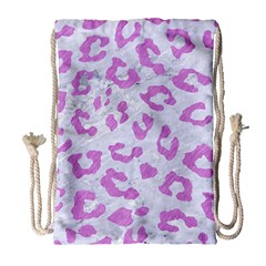 Skin5 White Marble & Purple Colored Pencil Drawstring Bag (large) by trendistuff