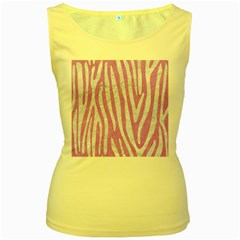 Skin4 White Marble & Purple Colored Pencil (r) Women s Yellow Tank Top