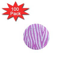 Skin4 White Marble & Purple Colored Pencil (r) 1  Mini Magnets (100 Pack)