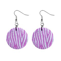 Skin4 White Marble & Purple Colored Pencil (r) Mini Button Earrings