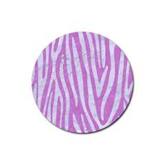 Skin4 White Marble & Purple Colored Pencil (r) Rubber Coaster (round)