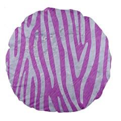 Skin4 White Marble & Purple Colored Pencil (r) Large 18  Premium Round Cushions