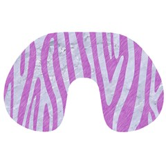 Skin4 White Marble & Purple Colored Pencil (r) Travel Neck Pillows