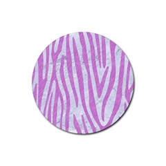 Skin4 White Marble & Purple Colored Pencil Rubber Round Coaster (4 Pack)