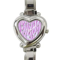 Skin4 White Marble & Purple Colored Pencil Heart Italian Charm Watch