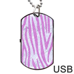 Skin4 White Marble & Purple Colored Pencil Dog Tag Usb Flash (one Side)