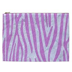 Skin4 White Marble & Purple Colored Pencil Cosmetic Bag (xxl)