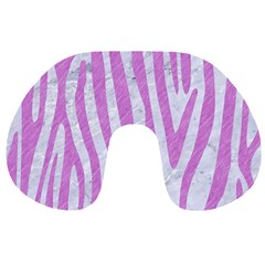 Skin4 White Marble & Purple Colored Pencil Travel Neck Pillows
