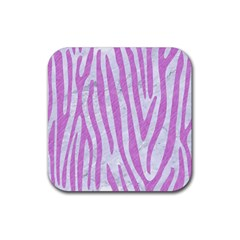 Skin4 White Marble & Purple Colored Pencil Rubber Square Coaster (4 Pack)  by trendistuff