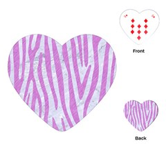Skin4 White Marble & Purple Colored Pencil Playing Cards (heart)