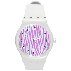 Skin4 White Marble & Purple Colored Pencil Round Plastic Sport Watch (m)