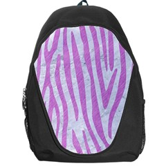 Skin4 White Marble & Purple Colored Pencil Backpack Bag