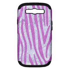Skin4 White Marble & Purple Colored Pencil Samsung Galaxy S Iii Hardshell Case (pc+silicone)