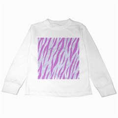 Skin3 White Marble & Purple Colored Pencil (r) Kids Long Sleeve T Shirts