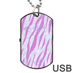 Skin3 White Marble & Purple Colored Pencil (r) Dog Tag Usb Flash (one Side)