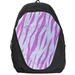 Skin3 White Marble & Purple Colored Pencil (r) Backpack Bag
