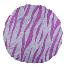 Skin3 White Marble & Purple Colored Pencil (r) Large 18  Premium Round Cushions