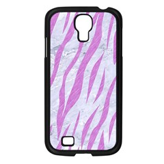 Skin3 White Marble & Purple Colored Pencil (r) Samsung Galaxy S4 I9500/ I9505 Case (black)