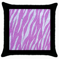 Skin3 White Marble & Purple Colored Pencil Throw Pillow Case (black)