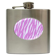 Skin3 White Marble & Purple Colored Pencil Hip Flask (6 Oz)