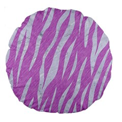 Skin3 White Marble & Purple Colored Pencil Large 18  Premium Round Cushions
