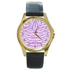 Skin2 White Marble & Purple Colored Pencil (r) Round Gold Metal Watch
