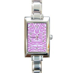 Skin2 White Marble & Purple Colored Pencil Rectangle Italian Charm Watch