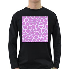 Skin1 White Marble & Purple Colored Pencil (r) Long Sleeve Dark T Shirts