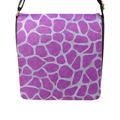 Skin1 White Marble & Purple Colored Pencil (r) Flap Messenger Bag (l)