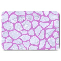 Skin1 White Marble & Purple Colored Pencil Large Doormat  by trendistuff