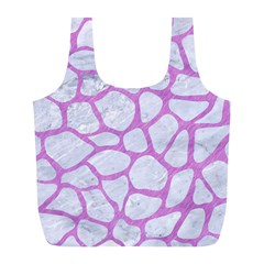 Skin1 White Marble & Purple Colored Pencil Full Print Recycle Bags (l)