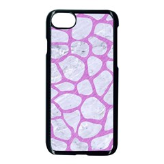 Skin1 White Marble & Purple Colored Pencil Apple Iphone 8 Seamless Case (black)