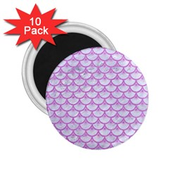 Scales3 White Marble & Purple Colored Pencil (r) 2 25  Magnets (10 Pack)  by trendistuff